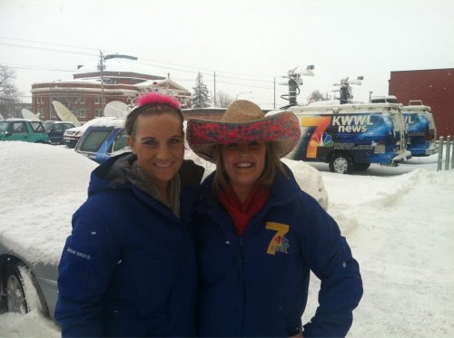 Danielle Wagner and Nikki Newbrough of KWWL, Waterloo.